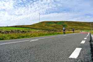 The lower slopes of the Holme Moss climb and a typical Skylark road surface